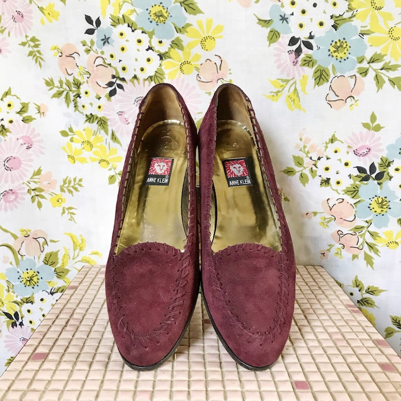 3b1aa86ccf0bb Vintage 90s Anne Klein burgundy suede leather pointed flats shoes size 9  narrow