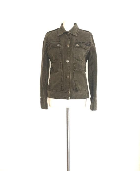 Military green jacket / military green denim jacke
