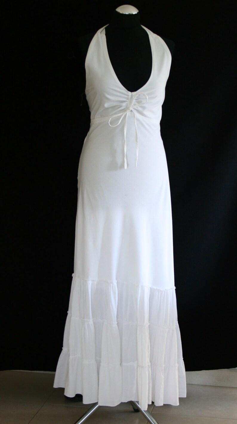 uk availability 124a9 f98cb Weißes langes Kleid / Halfter Kleid / weißes Hippie-Kleid / dress Ibizenco  / langes Kleid weiß /