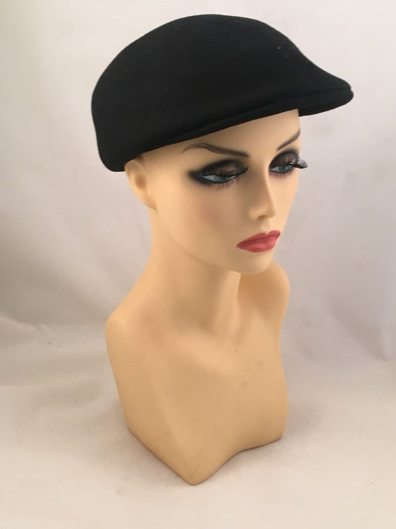 black wool beret / black hat / black cap / black w
