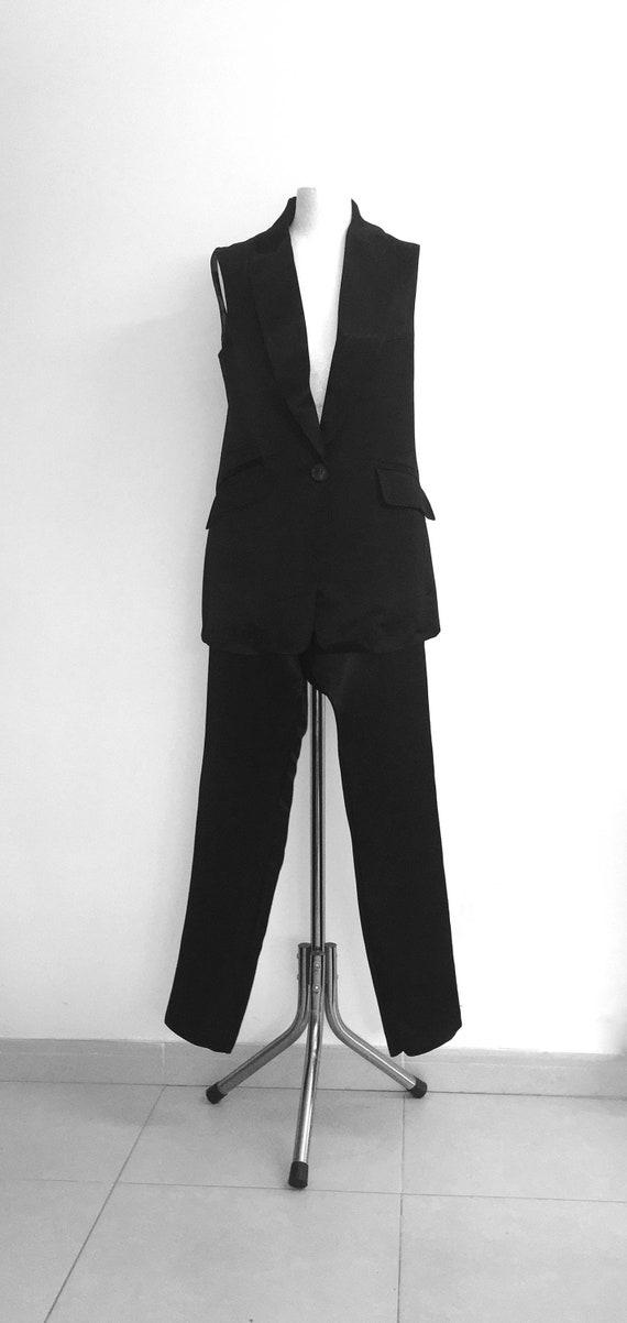 Black satin pants suit / Black satin vest / black