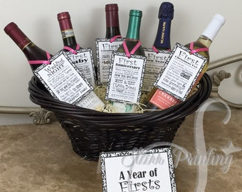 bridal shower wine basket gift set with 6 tags and shower card wine not included