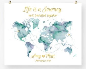Map guest book etsy personalized map wedding guest book watercolor world map anniversary save the date engagement gift printable digital art print jpeg pdf gumiabroncs Images
