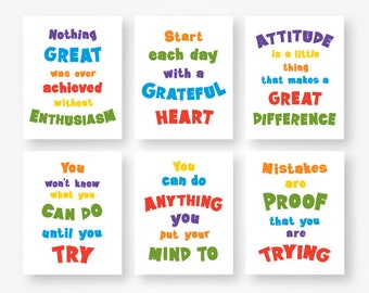 Motivational Quote Primary Colors Kids Room Wall Art Print Set Etsy