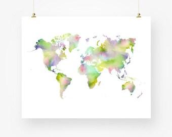 Watercolor world map print gray printable world map of the world map watercolor world map printable world map instant download world map wall decor digital pdf world map wall art world map poster gumiabroncs Choice Image