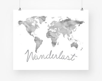 Gray wall art watercolor world map neutral color printable etsy large gray world map wanderlust print watercolor printable world map neutral wall decor poster sign digital print instant download pdf jpg gumiabroncs Gallery