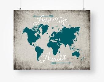 Adventure awaits world map digital download navy blue and gray etsy adventure awaits world map travel quote printable teal and gray arrows wall art decor poster sign digital print instant download pdf jpg gumiabroncs Images