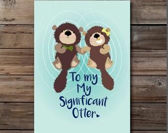 süße Valentinstag-Karte Fischotter sofortigen Herunterladen