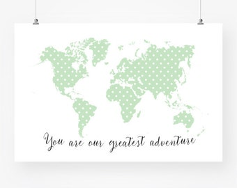 Large colorful world map nursery download world continents etsy mint nursery polka dot print download you are our greatest adventure large world map nursery wall decor printable jpg pdf instant download gumiabroncs Gallery