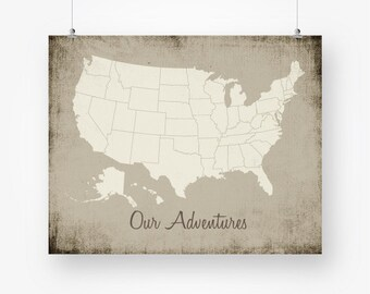 United states map printable download large us usa map poster | Etsy