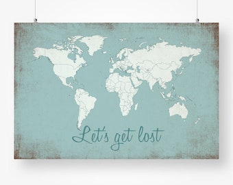 Large World Map Poster Etsy - Large detailed world map poster