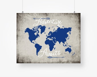 Adventure awaits map etsy adventure awaits world map digital download navy blue and gray boys room wall art decor poster sign printable digital print instant download gumiabroncs Image collections