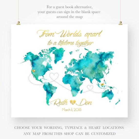 Personalized map wedding guest book watercolor world map PRINTABLE DIGITAL  art print jpeg pdf
