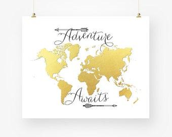 gold world map digital download, adventure awaits printable travel quote world map printable poster, gold wall art, arrow wall decor jpg
