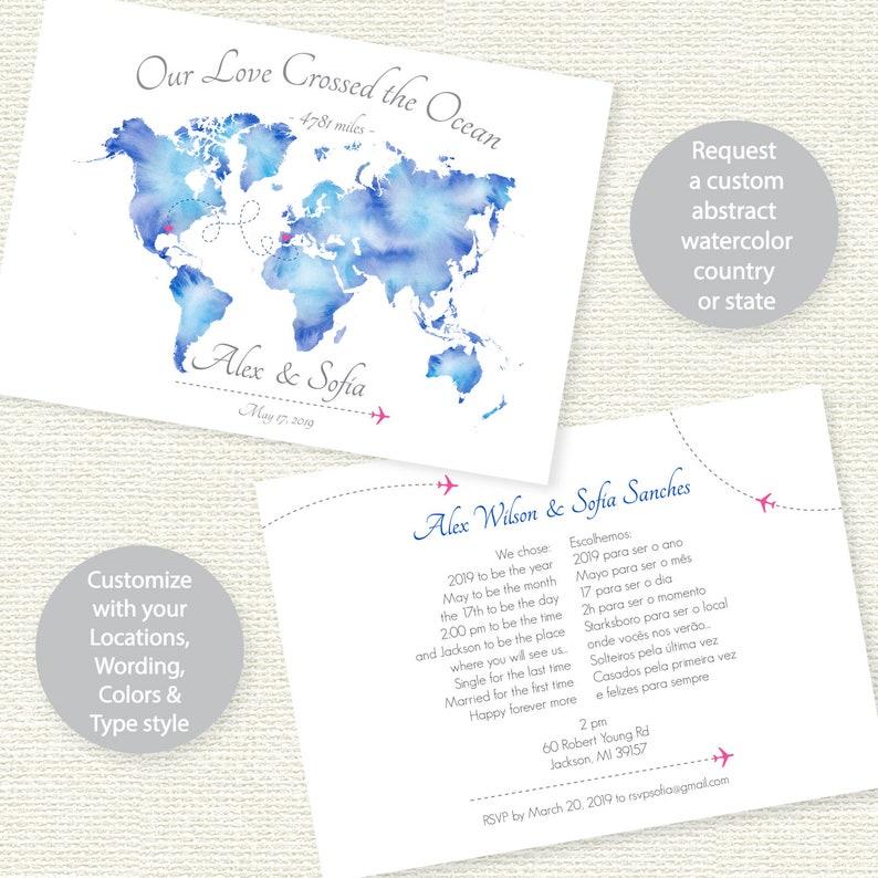 World Map Wedding Invitations.Travel Theme Wedding Invitation Map Wedding Invitation Etsy