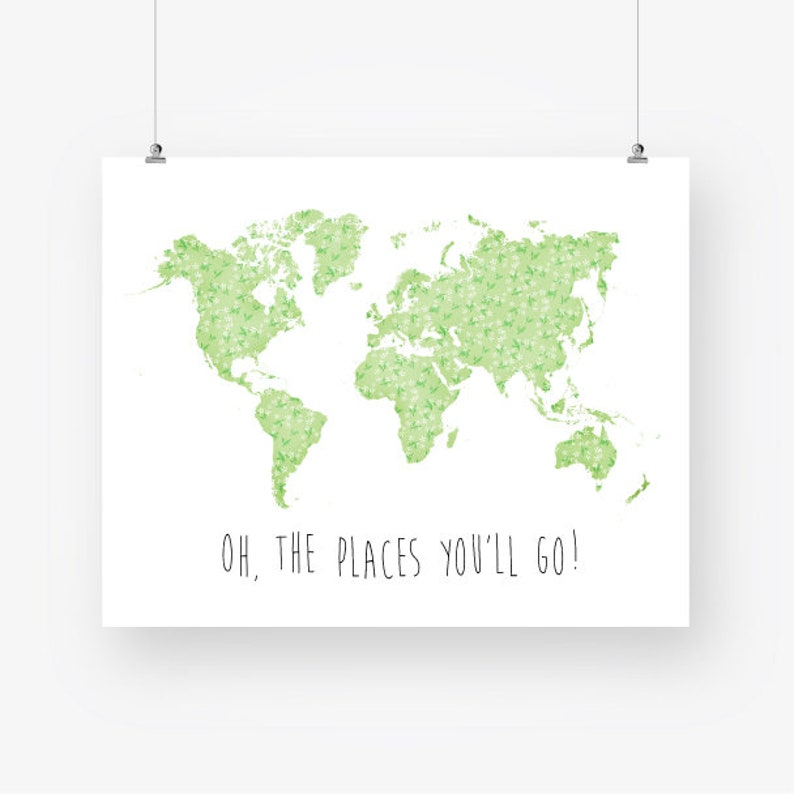 Oh The Places Youll Go Green Nursery Quote Printable World Map Etsy