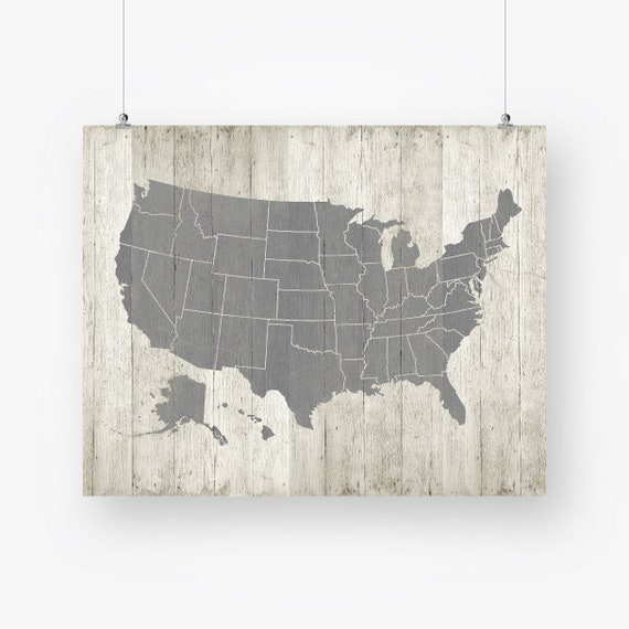 United States Map Printable Download Large Us Usa Map Poster Etsy - Us-map-printable-with-states