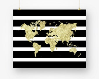black stripes and gold world map print printable world map of the world chic wall art decor poster digital print instant download jpg pdf