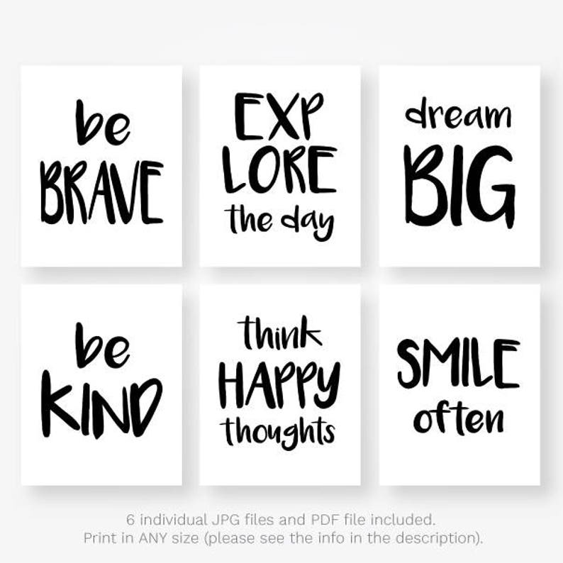 black and white quotes kids download motivational kids room playroom wall  art set jpg pdf posters printable digital prints instant download