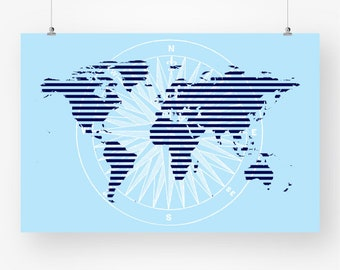 Map of the world map poster download map wood texture large world map poster navy sky blue printable map of the world map boys room wall art decor 24x36any size digital instant download jpg pdf gumiabroncs Images