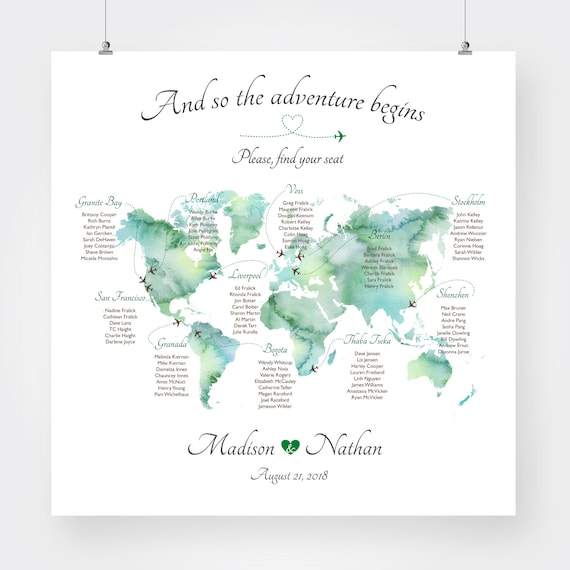 world map wedding seating chart travel theme where in the world are you  sitting plan printable watercolor table chart digital jpg pdf file