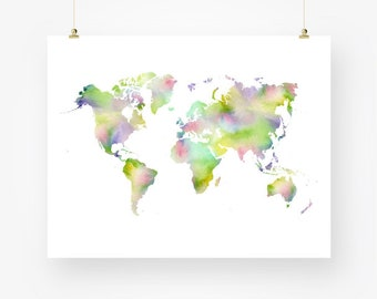 world map watercolor world map printable world map instant download, world map wall decor digital pdf, world map wall art, world map poster