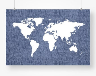 Navy world map etsy large map of the world gumiabroncs Gallery