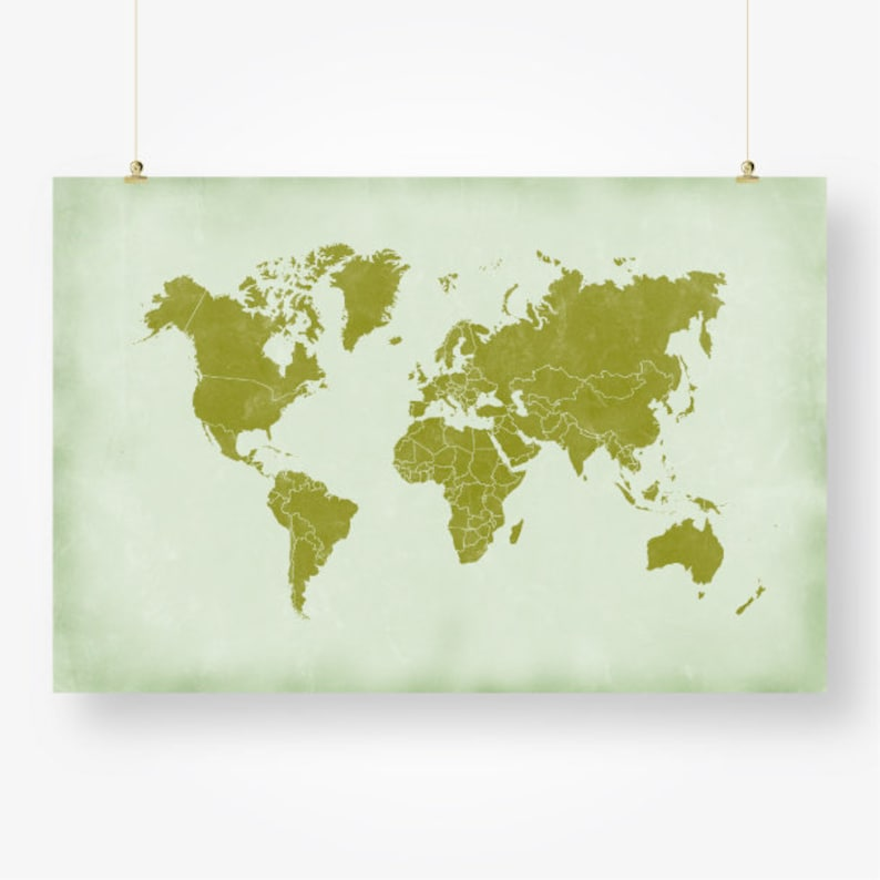 photograph regarding Large Printable World Map Pdf referred to as significant international map nations around the world print printable distressed global map of the earth inexperienced wall artwork decor poster electronic instantaneous down load jpg pdf