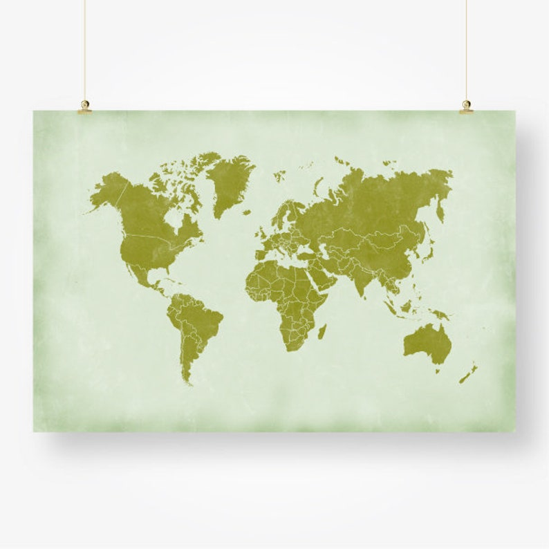graphic regarding Large Printable World Map Pdf called significant worldwide map nations print printable distressed environment map of the international environmentally friendly wall artwork decor poster electronic fast down load jpg pdf