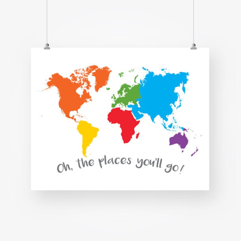 Large Colorful World Map Nursery Download World Continents Etsy