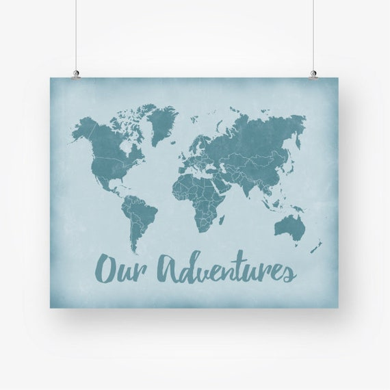 large world map push pin art print download our adventures map rustic teal  blue wall art decor jpg printable digital poster instant download