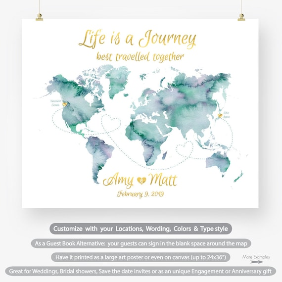 Personalized map wedding guest book watercolor world map etsy image 0 gumiabroncs Images