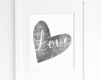 grey heart printable instant download black and white neutral nursery bedroom wall art decor for him her jpeg pdf printable instant download