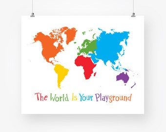 world map kids room digital download colorful world map continents large wall art decor jpg pdf