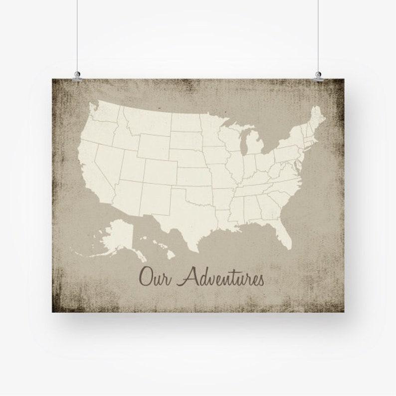 United states map push pin print download large usa map   Etsy