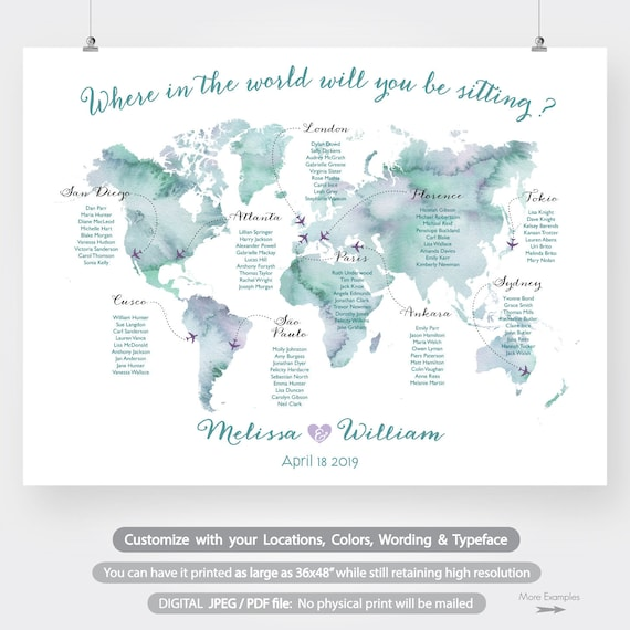 Where To Buy Large World Map.World Map Wedding Seating Chart Printable Large Watercolor Etsy