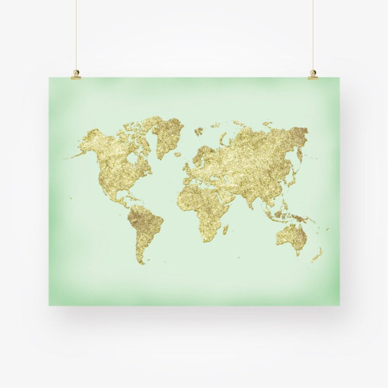picture regarding Large Printable World Map Pdf known as mint and gold planet map printable planet map of the earth poster higher sizing nursery wall artwork decor electronic print immediate down load jpg pdf