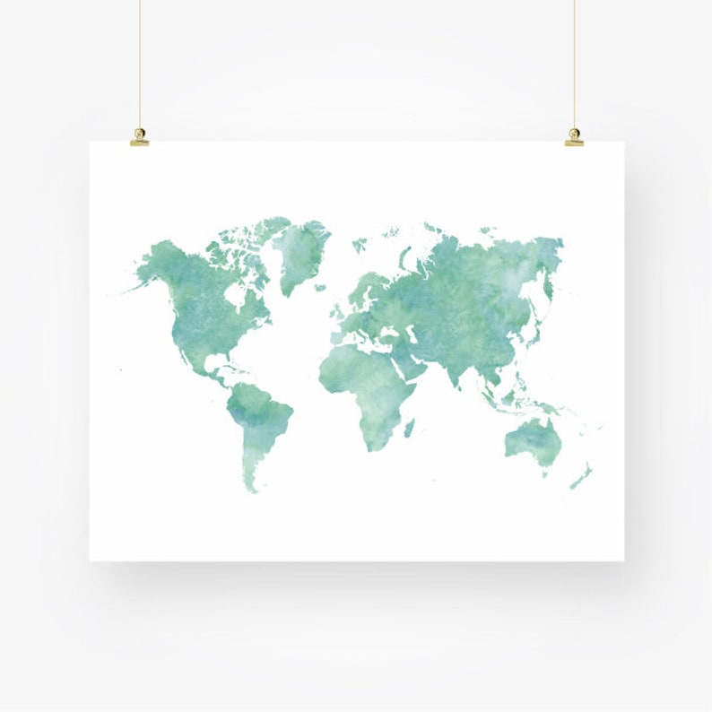 picture about Large Printable World Map Pdf identify watercolor global map down load mint environmentally friendly sea foam teal nursery wall artwork decor poster major printable electronic print jpeg fast down load pdf