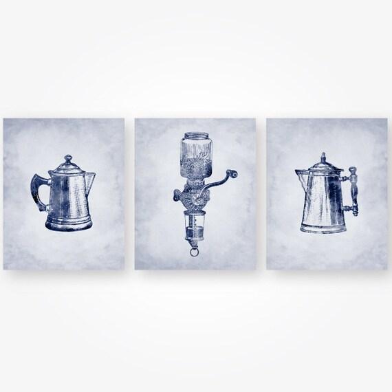 navy blue kitchen wall art set of 3 digital prints vintage | etsy