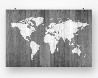 large world map poster download grey wood texture world map of the world wall art decor