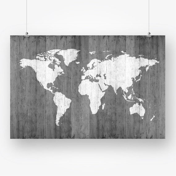 Large world map poster download grey wood texture world map of etsy image 0 gumiabroncs Images