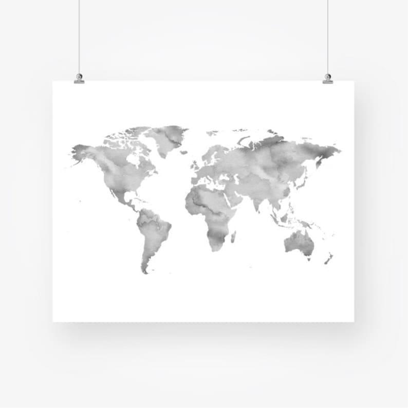 Gray Wall Art Watercolor World Map Neutral Color Printable Etsy