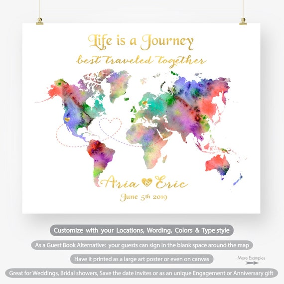 Custom world map wedding guestbook alternative anniversary etsy image 0 gumiabroncs Choice Image