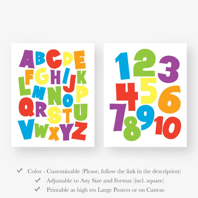 image about Numbers Printable titled alphabet quantities print electronic obtain printable playroom wall artwork mounted colourful youngsters space wall decor most important rainbow colours 123 abc pdf jpg