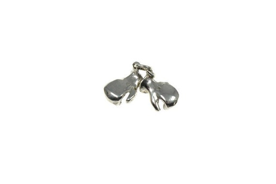 Vintage sterling silver boxing gloves charm, boxin
