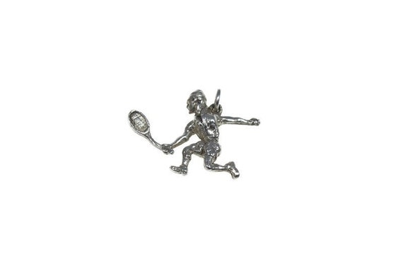 Vintage Charm Sterling Silver Sports Charm for Charm Bracelets Gift for Racquetball Player Vintage Racquetball Player Charm Racquet