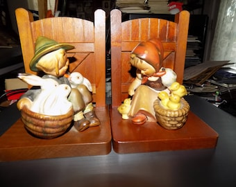 Vintage Goebel Hummel Book Ends from 1960s early 1970s See Scan