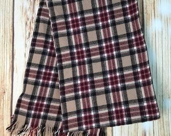d63952ea85 Vintage Pendleton Scarf Wool Maroon Black White Plaid