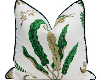 Fern Pillow Cover in Green Forest with Matching Velvet Pipping.