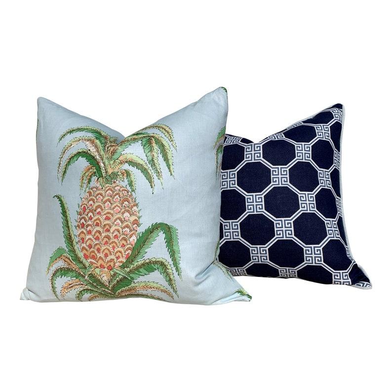 Decorative Pillow Cover. Accent Cushion Designer Pillow Cover Schumacher Octavia Pillow in Navy and Light Blue Lumbar Blue Pillow